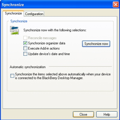 BlackBerry Desktop Manager sync close