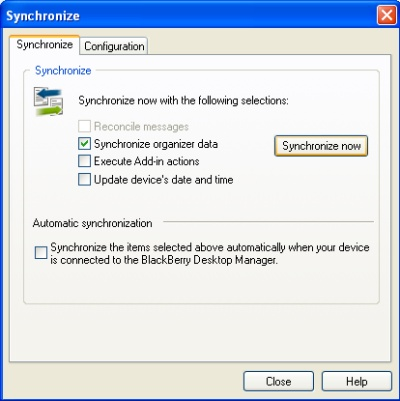 BlackBerry Desktop Manager sync now